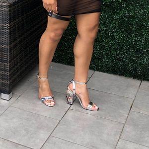 Silver /Floral shoes